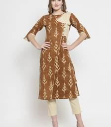 Indibelle Brown Cotton Slub Leaf Print Straight Kurta With Trouser