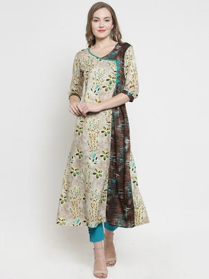 Beige Rayon Florel Print A-line With Trouser