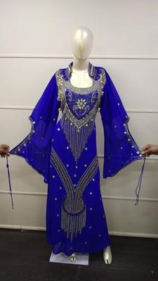 White Zari Work Chiffon Polyester Islamic Party Wear Festive Kaftan
