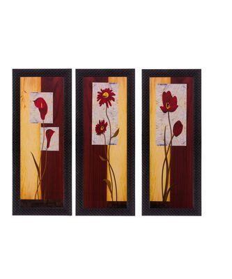 Set of 3 Botanical Design Satin Matt Texture UV Art Painting