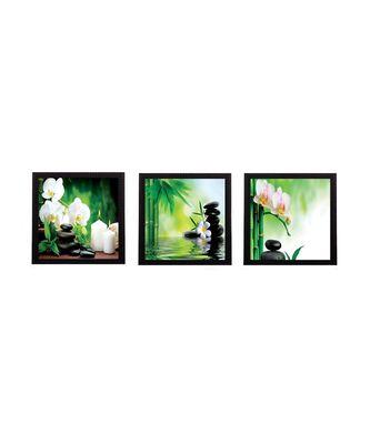Set Of 3 White Flora and Stones Satin Matt Texture UV Art Painting