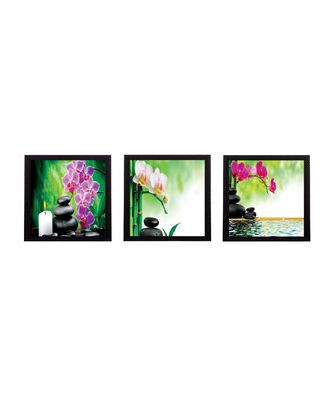Set Of 3 Colorful Floral Satin Matt Texture UV Art Painting