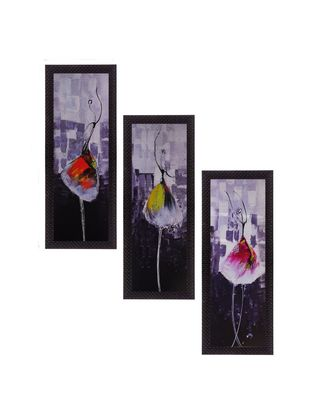 Set Of 3 Dancing Girl Satin Matt Texture UV Art Painting