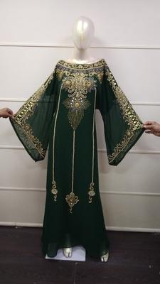 Green Zari Work Chiffon Polyester Islamic Party Wear Festive Kaftan