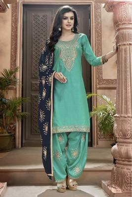 Sky-blue embroidered chanderi silk salwar