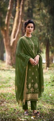 green embroidered lawn unstitched salwar with dupatta