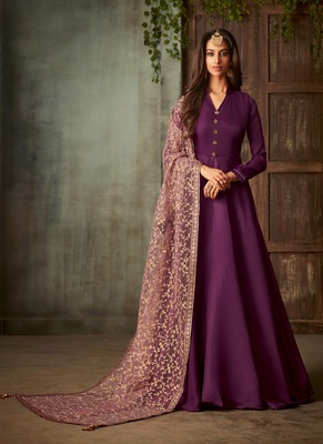 Wine embroidered silk salwar