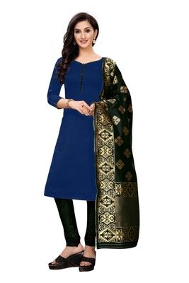 Women's blue plain banarasi unstitched salwar with dupatta