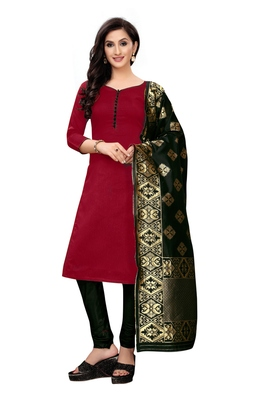 Women's maroon woven banarasi unstitched salwar with dupatta