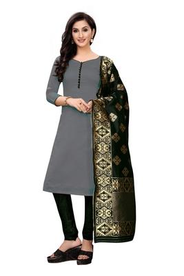 Women's grey woven banarasi unstitched salwar with dupatta