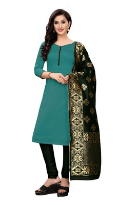 Women's sea green woven banarasi unstitched salwar with dupatta