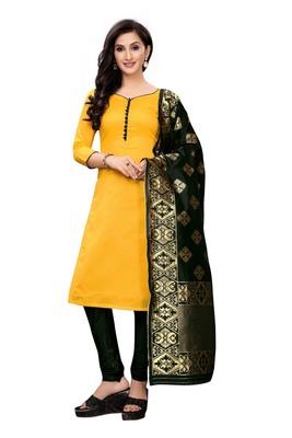 yellow plain banarasi unstitched salwar with dupatta