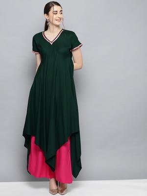 Dark-green printed rayon salwar