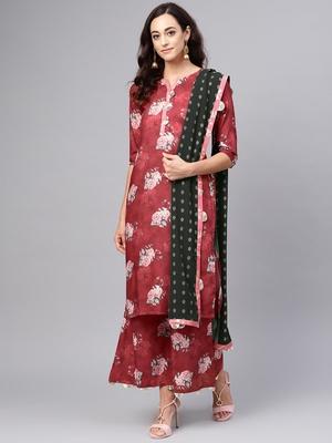 Maroon printed polyester salwar
