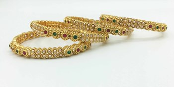 Gold   beaded jewellery bangles