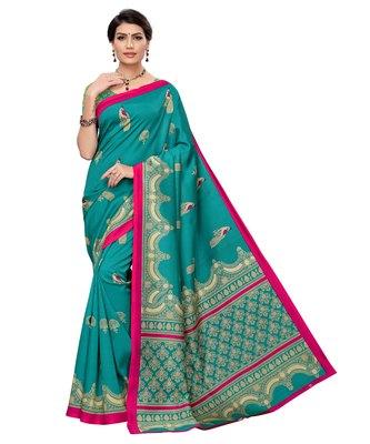 Sea green printed art silk saree with blouse