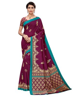 Wine printed art silk saree with blouse