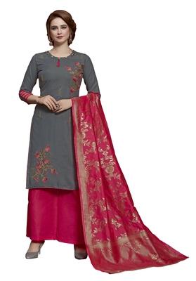 Grey thread embroidery cotton salwar