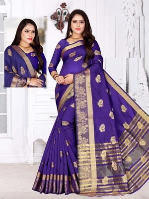 Light purple woven cotton silk saree with blouse