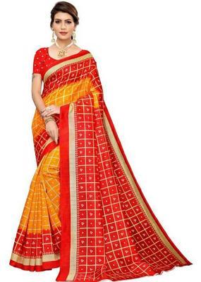 Multicolor printed bhagalpuri saree with blouse
