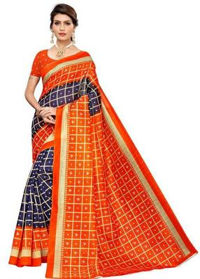 Multicolor printed bhagalpuri saree with blouse