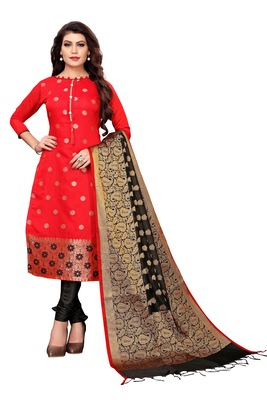 Women's red woven banarasi unstitched salwar with dupatta