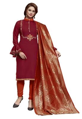 Blissta Maroon & Orange Slub Cotton Embroidered Dress Material With Banarasi Dupatta