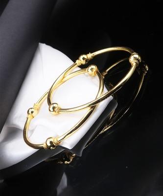 Gold Plain Bangles Set Of 2