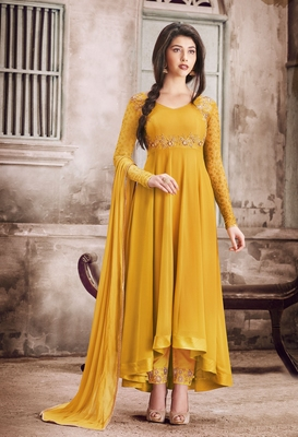 Mustard embroidered faux georgette anarkali suit