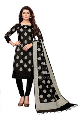Women's black woven banarasi unstitched salwar with dupatta