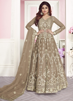 Light-chiku embroidered net salwar