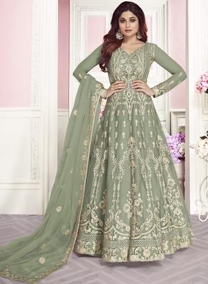 Light-sea-green embroidered net salwar