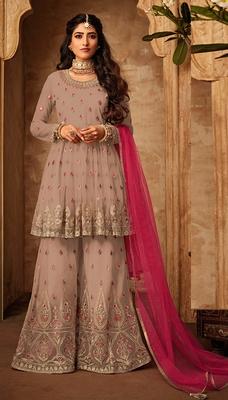Light-onion-pink embroidered net salwar