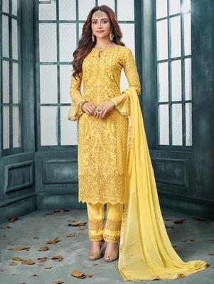 Yellow Heavy Faux Georgette Party Wear Designer Suit