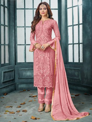 Pink Heavy Faux Georgette Party Wear Designer Suit