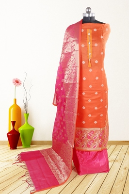 Women's orange woven banarasi unstitched salwar with dupatta