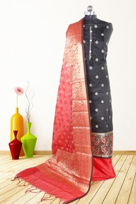 Women's black woven banarasi unstitched salwar with dupatta