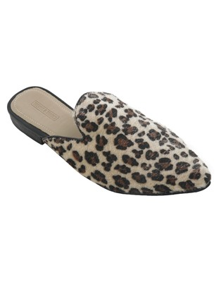 Trends & Trades Womens Leopard Print Brown & Black Hair on Pointed Mules Shoes
