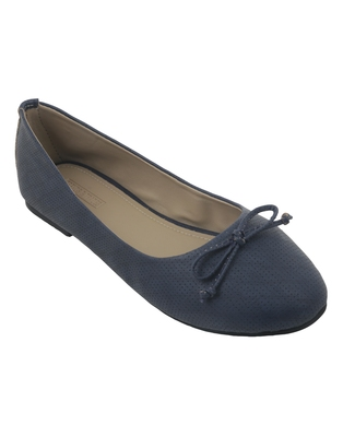 Trends & Trades Blue Preforated Design Ballerinas Shoes