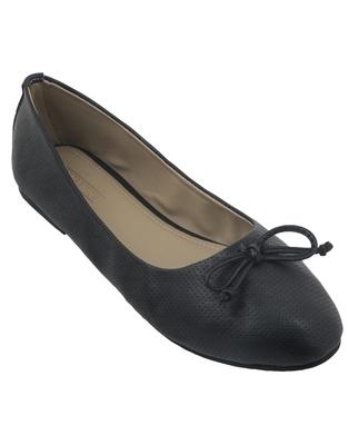 Trends & Trades Black Preforated Design Ballerinas Shoes
