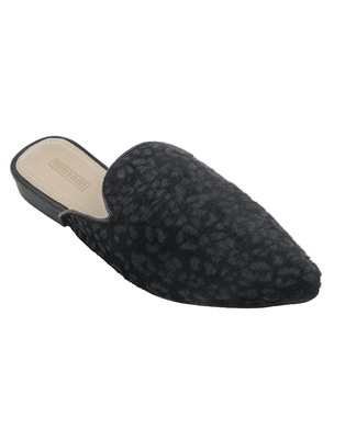 Trends & Trades Womens Leopard Print Black Hair on Pointed Mules Shoes