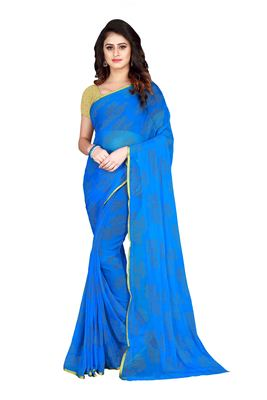 Sky blue embroidered chiffon saree with blouse