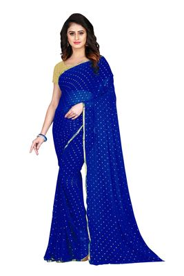 Navy blue embroidered chiffon saree with blouse