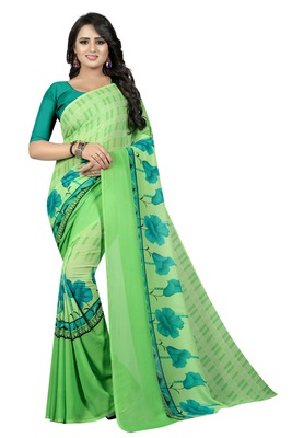 Light green printed georgette saree with blouse