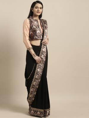 Black printed chiffon saree with blouse
