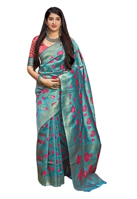 Blue woven art silk saree with blouse