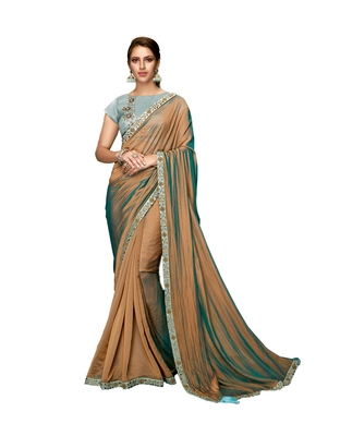 Brown embroidered silk blend saree with blouse