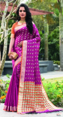 Dark pink woven art silk saree with blouse