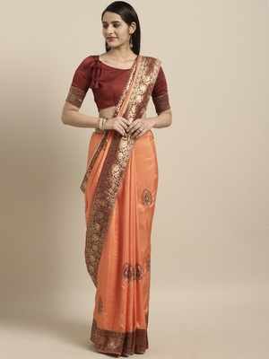 Light orange embroidered silk blend saree with blouse