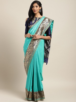 Sky blue embroidered art silk saree with blouse